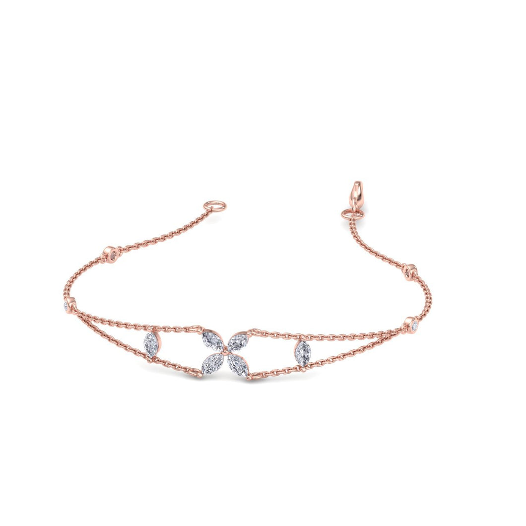 rose gold chain diamond bracelet