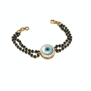 new born kid gold evil eye diamond bracelet - 1