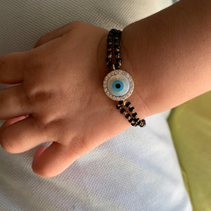 new born kid gold evil eye diamond bracelet - 3