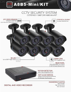 COTIER A8B5-Mini/Kit 2MP 8CH 1080P CCTV Security Camera System AHD DVR Surveillance Kit - Black
