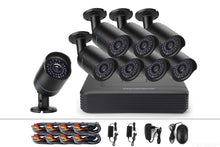 Load image into Gallery viewer, COTIER A8B5-Mini/Kit 2MP 8CH 1080P CCTV Security Camera System AHD DVR Surveillance Kit - Black
