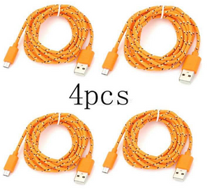 Micro USB Nylon Braided Android Charging Data Cable - (4 PCS)