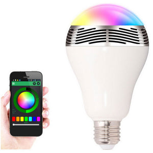 Dimmable BT Smart E27 LED Bulb w/ Music Speaker - Silver + White