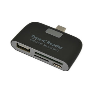 3-in-1 USB 3.1 Type-C Card Reader Adapter - Black