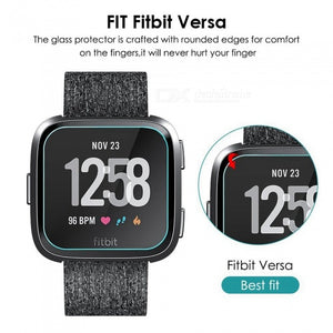 Miimall 2Pcs 9H Hardness Tempered Glass Screen Protectors + 1Pc Soft TPU Shockproof Protective Case Cover for Fitbit Versa