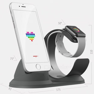 JEDX Stand for Apple Watch, Charging Station Dock Accessories Phone Holder Aluminum for IPHONE Series - Silver