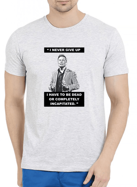 I Never Give Up Half Sleeves Melange T-shirt