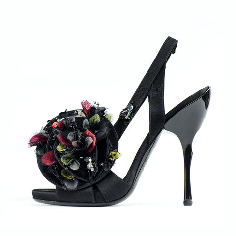Georgina Goodman flowers for your feet couture shoe with hand made bugs, semi precious stones and real petals
