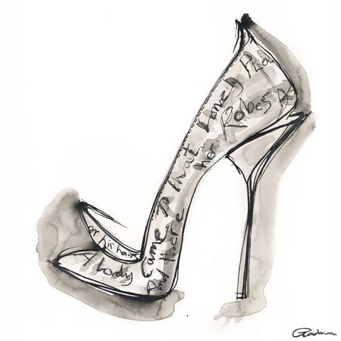 A poem of love, couture shoe by Georgina Goodman with embroidered poetry