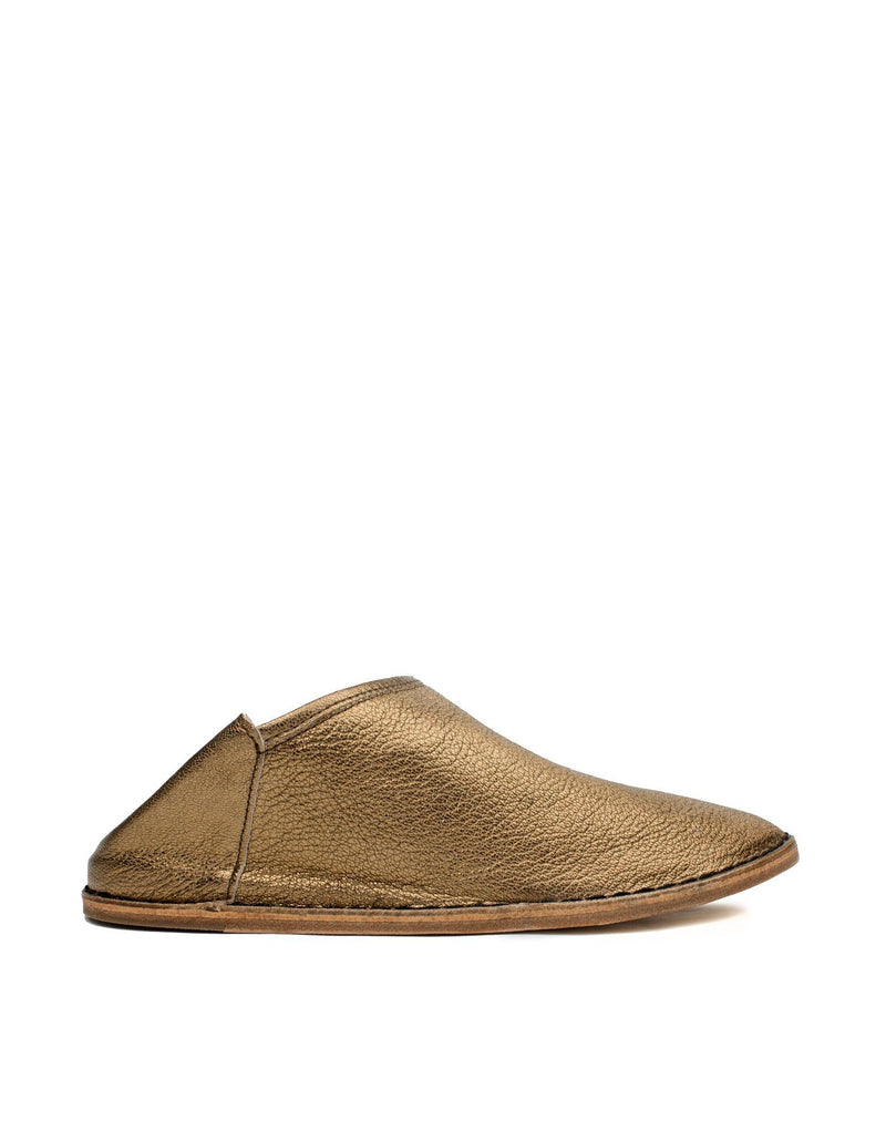 Rich antique gold leather slipper shoe by designer Georgina Goodman. Designed in London, Made in Portugal, Made in Love.