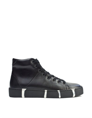 Classic with a twist black leather high top designer sneaker
