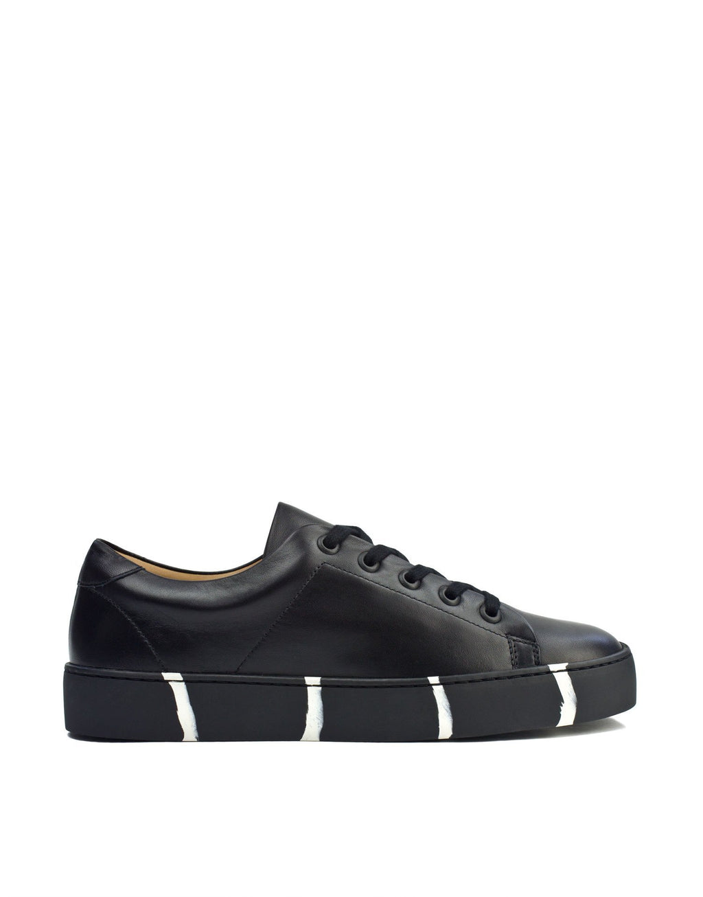 Classic minimal black leather sneaker with recycled sole and signature Georgina Goodman stripes