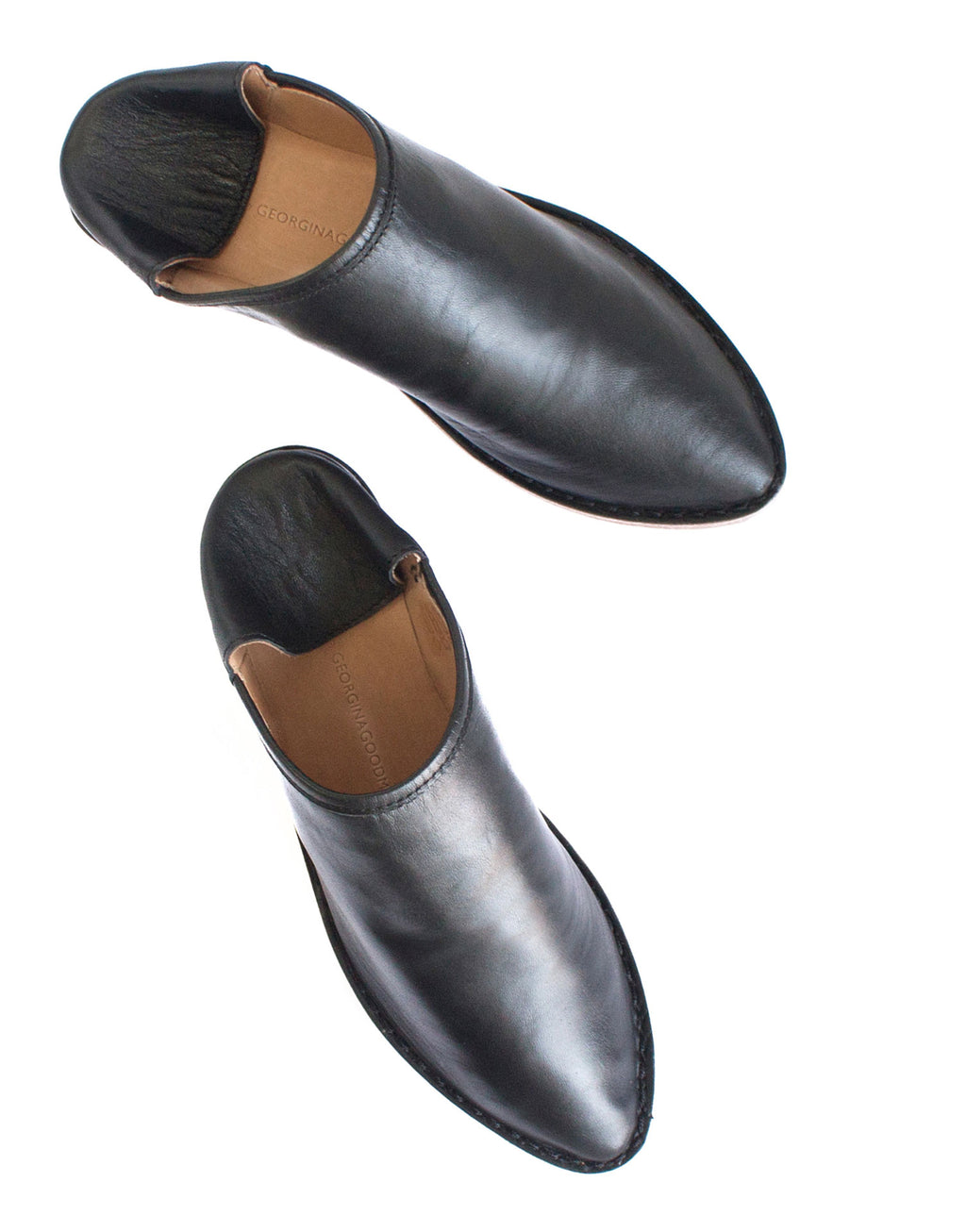 black soft leather slip on slipper shoe by Designer Georgina Goodman