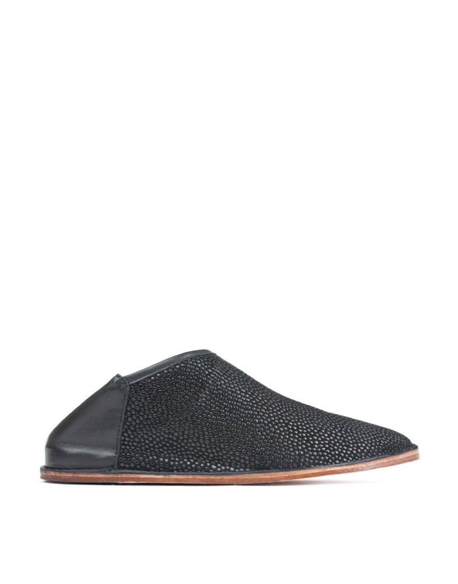 Black glossy spotted finish slip on slipper shoe by designer Georgina Goodman