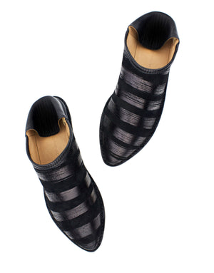 Black and black striped slip on slipper shoes by designer Georgina Goodman
