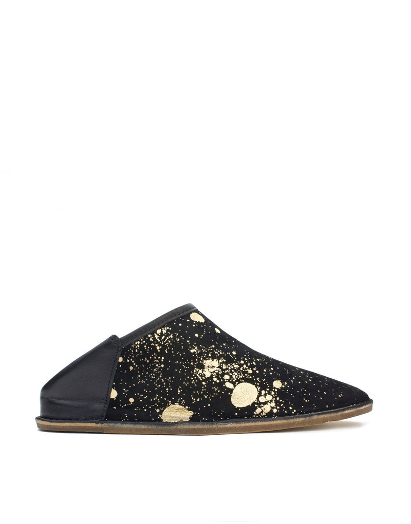Art to wear gold foil unique splashed suede leather slip on slipper shoe, dress up or dress down