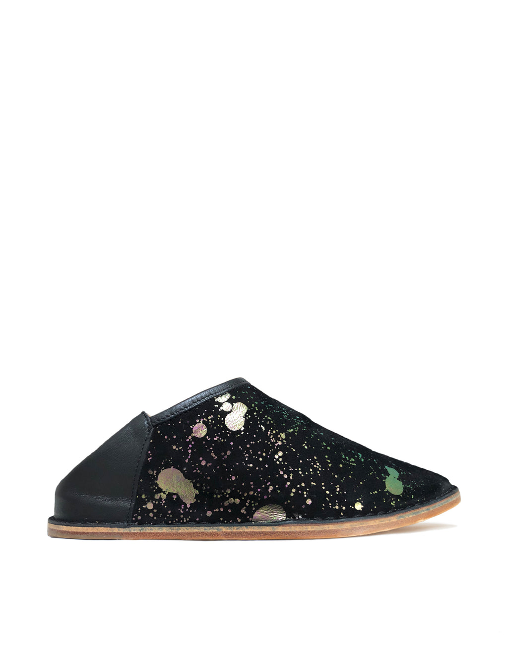 Black and Iridescent Pink Green Splash Slip On