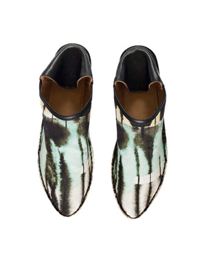 Printed mint and black canvas summer slip on slipper shoe by designer Georgina Goodman with secret slim wedge for comfort