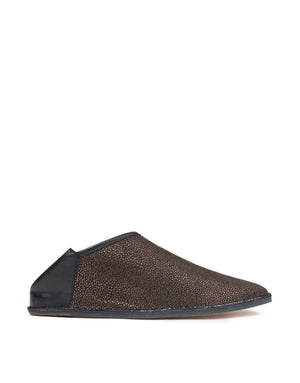 Designer slip on slipper shoe by Georgina Goodman, the indoor outdoor slipper shoe, comfy feet with hidden wedge and padded insole, black leather and black suede with glossy bronze finish, Made in Love, Made in Portugal, effortless style