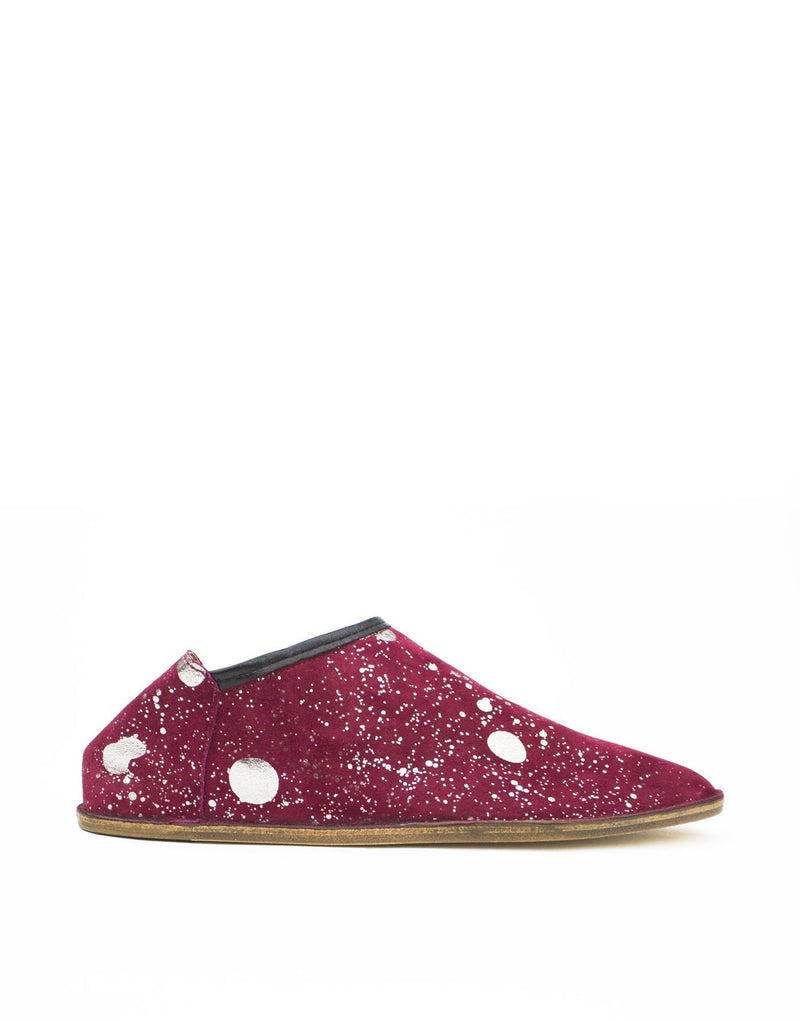 Burgundy and anthracite splash slipper by designer Georgina Goodman. An indoor outdoor shoe with a hidden wedge and padded insole for maximum comfort in style.
