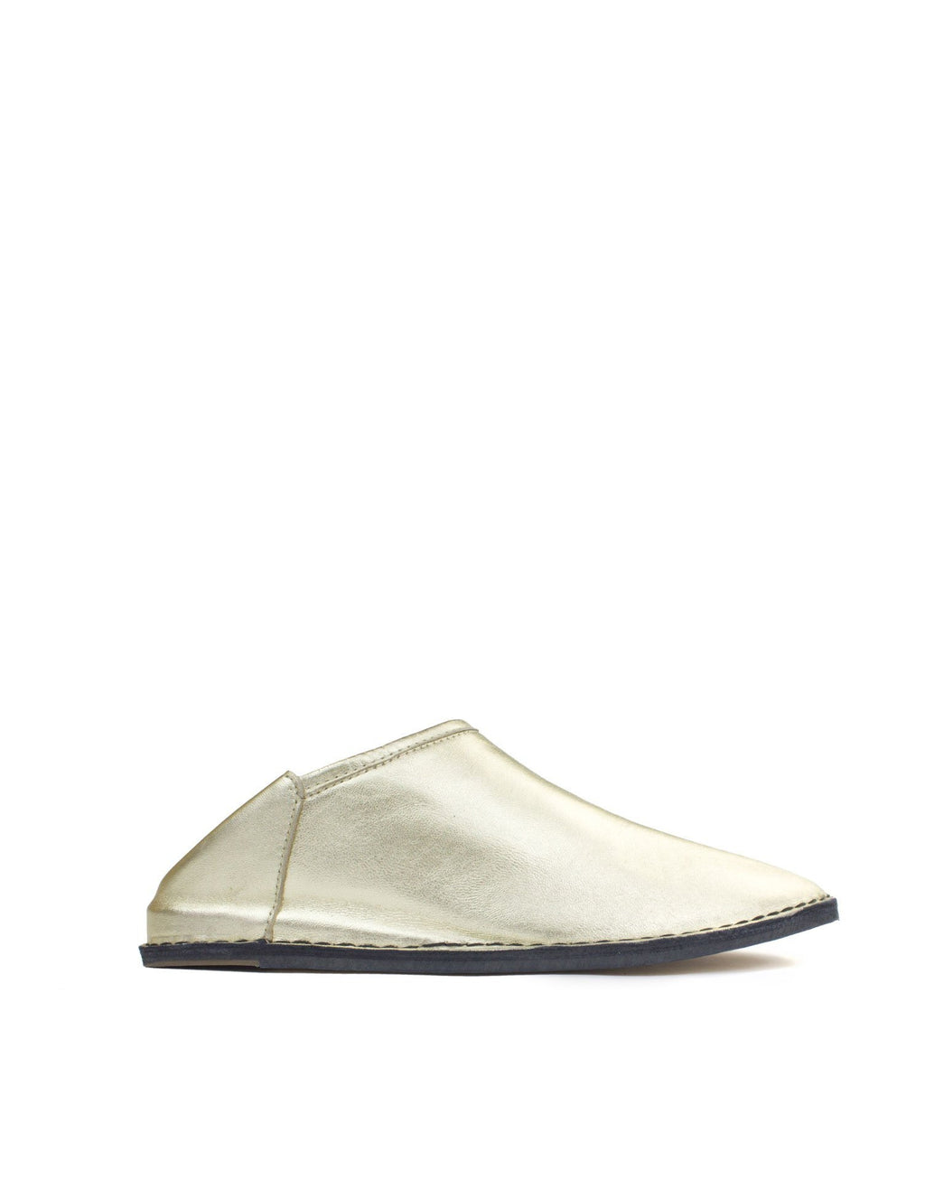 Soft gold nappa leather slip on slipper shoe by designer Georgina Goodman, designed to be worn inside and out with a clever hidden 2cm wedge for comfort