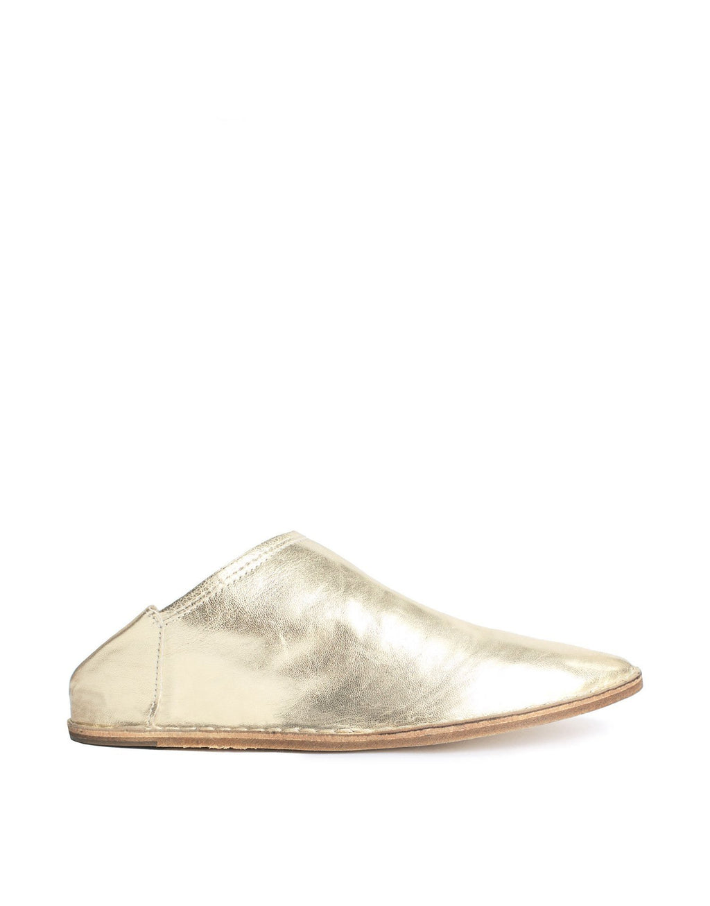 Soft nappa gold leather slip on slipper shoe by designer Georgina Goodman