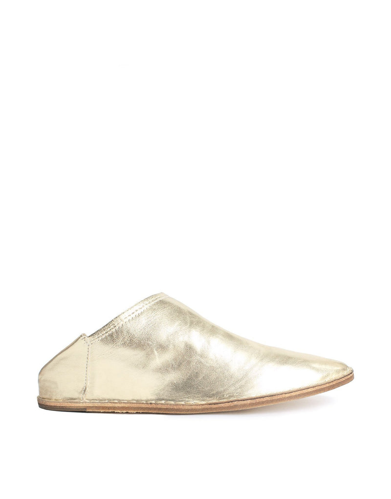 Gold nappa soft leather slip on slipper shoe by designer Georgina Goodman