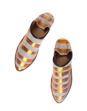 A signature stripe suede with custom artwork by designer Georgina Goodman, designer slip on slipper shoe, unique babouche, brushstrokes, designed in London, comfortable stylish fashion shoe, effortless babouche, hidden wedge for comfort, style at any age, comfortable feet, love flats, lifestyle, stripes forever