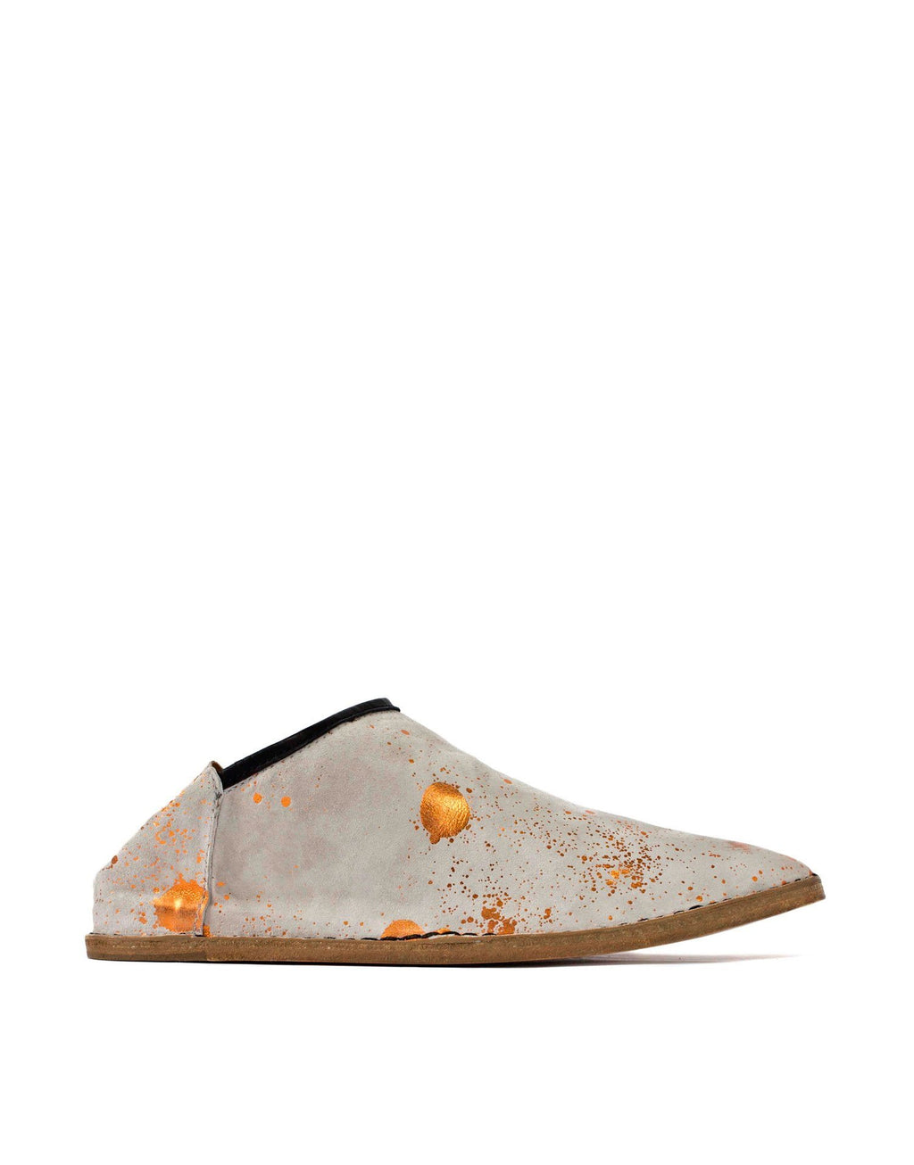 Grey and orange splash slip on slipper shoe, custom artwork by London designer Georgina Goodman, effortless style, style at any age, Thandie Newton has a pair of these ones