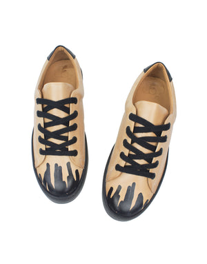 Hand painted designer sneaker by Georgina Goodman, Low Top sneaker in natural vegetable tanned leather with natural leather lining and recycled rubber black sole, hand painted individually by the designer herself in her London studio rendering each pair completely unique from the last