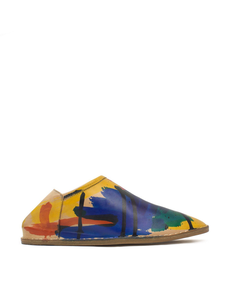 Hand Painted slip on slipper shoe, a babouche with hidden wedge and padded insole hand painted in London by designer Georgina Goodman
