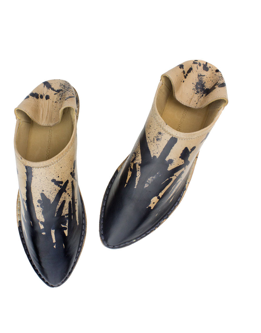 Designer slipper by Georgina Goodman, London leather craft hand painted in London by designer Georgina Goodman with drips and splashes, each pair completely unique from the last, art to wear