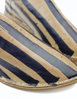 Signature Georgina Goodman Stripes feature on this hand painted slip on slipper shoe, a designer babouche for everyday use, wear indoors and out, has a hidden wedge and padded insole for all day comfort, a unique piece of art to wear, every pair individual, striped slippers, striped leather shoes