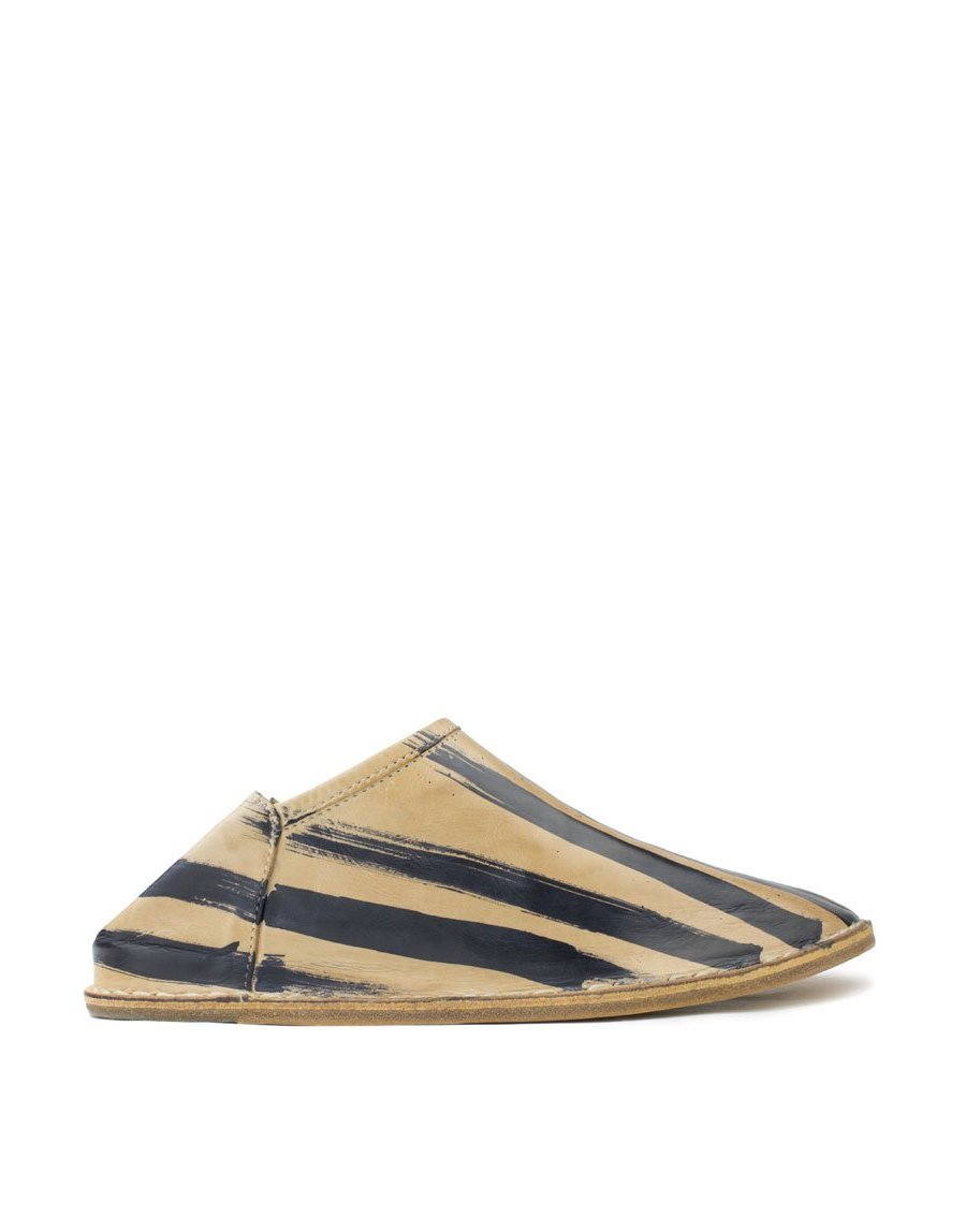 Signature Georgina Goodman Stripes feature on this hand painted slip on slipper shoe, a designer babouche for everyday use, wear indoors and out, has a hidden wedge and padded insole for all day comfort, a unique piece of art to wear, every pair individual
