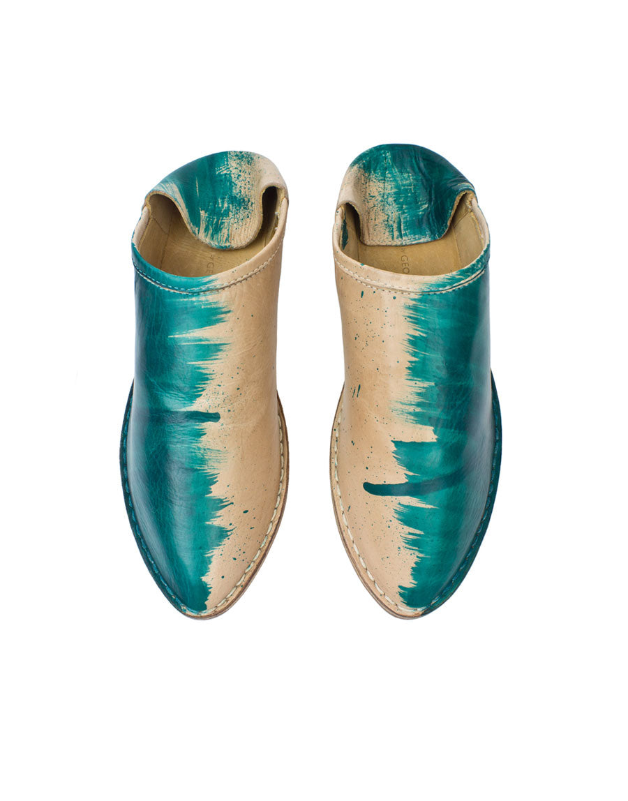 Hand Painted Designer Slip On Slipper Shoe by Georgina Goodman, own your own unique pair of shoes, each pair different from the last, this pair is half turquoise brush strokes and half natural leather, this slip on shoe has a hidden wedge and padded insole for comfort