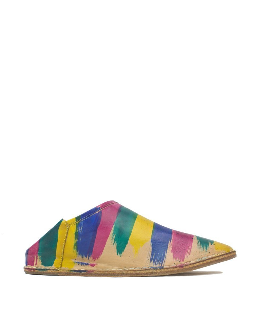 Hand Painted rainbow striped slip on slipper shoe, colourful designer flat shoe with hidden wedge and padded insole for comfortable feet all day, hand painted by Georgina in her London Studio, true art to wear, each pair unique