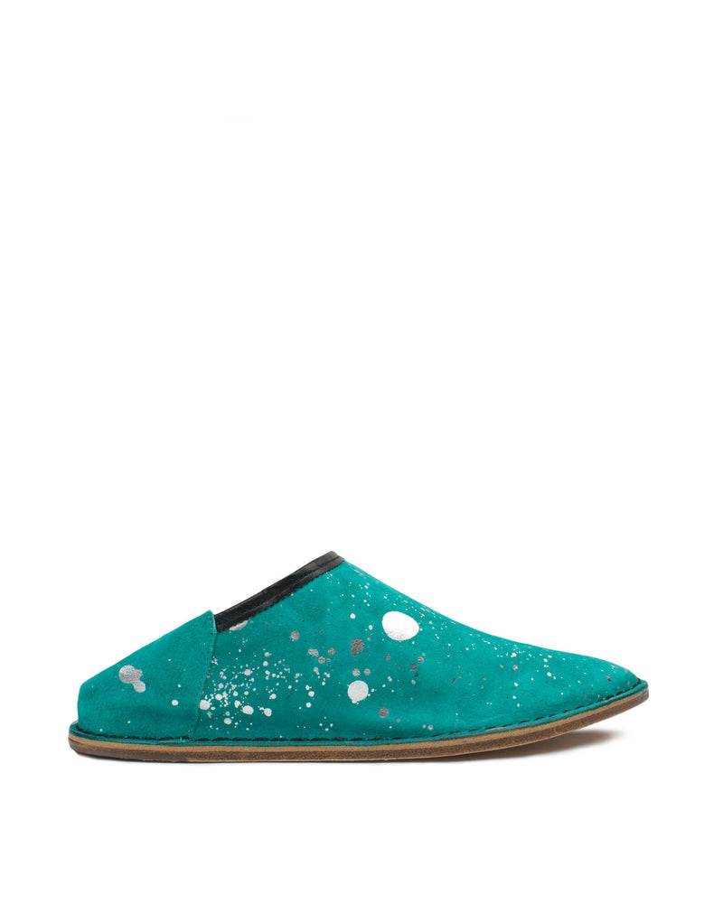 Design leather slip on mule in a colourful jade and silver. These are unworn selling samples sold at a discounted price.