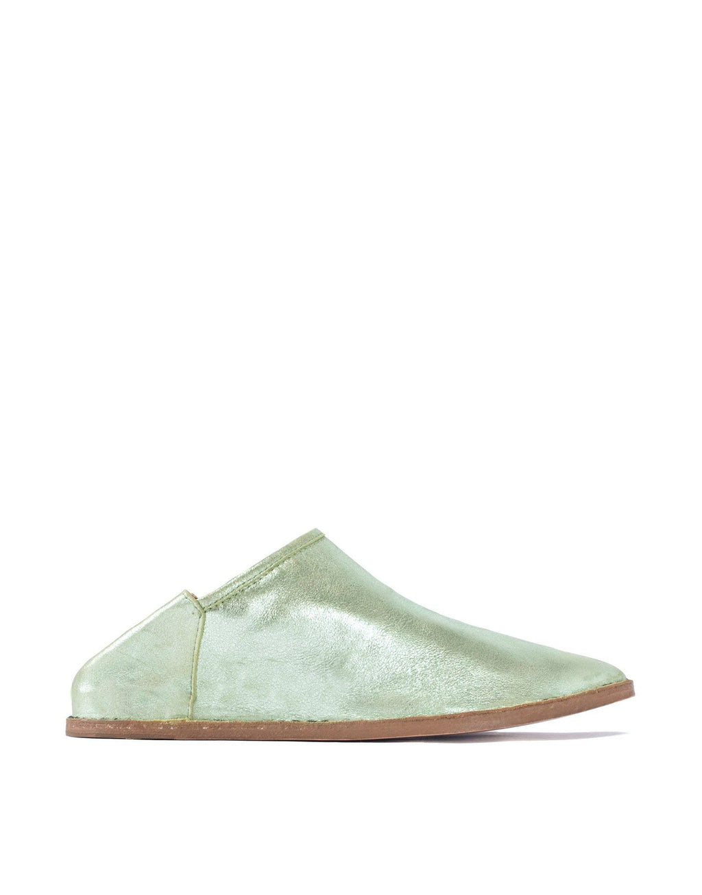 Mint metallic soft suede slip on slipper shoe by designer Georgina Goodman, complete with hidden 2cm concealed wedge heel for comfort