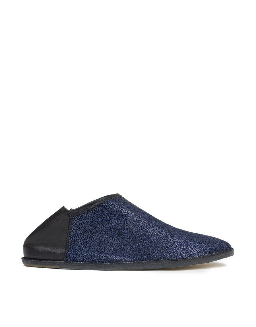 Designer babouche by Georgina Goodman, a slip on slipper shoe for indoors and out with a concealed wedge and padded insole for all day comfort, the version is in navy
