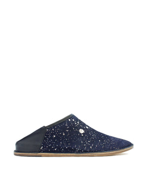 Navy and anthracite splash slip on shoe by designer Georgina Goodman, comfortable hidden wedge slip on babouche.