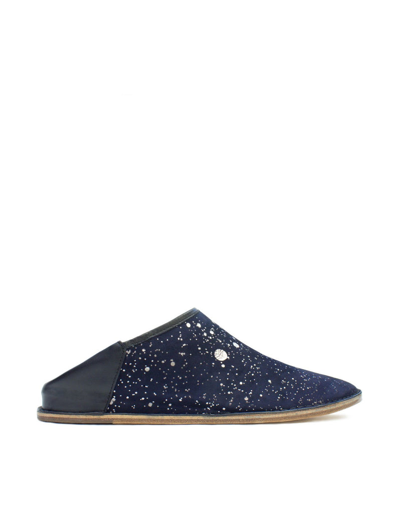 Navy and anthracite splash slip on shoe by designer Georgina Goodman