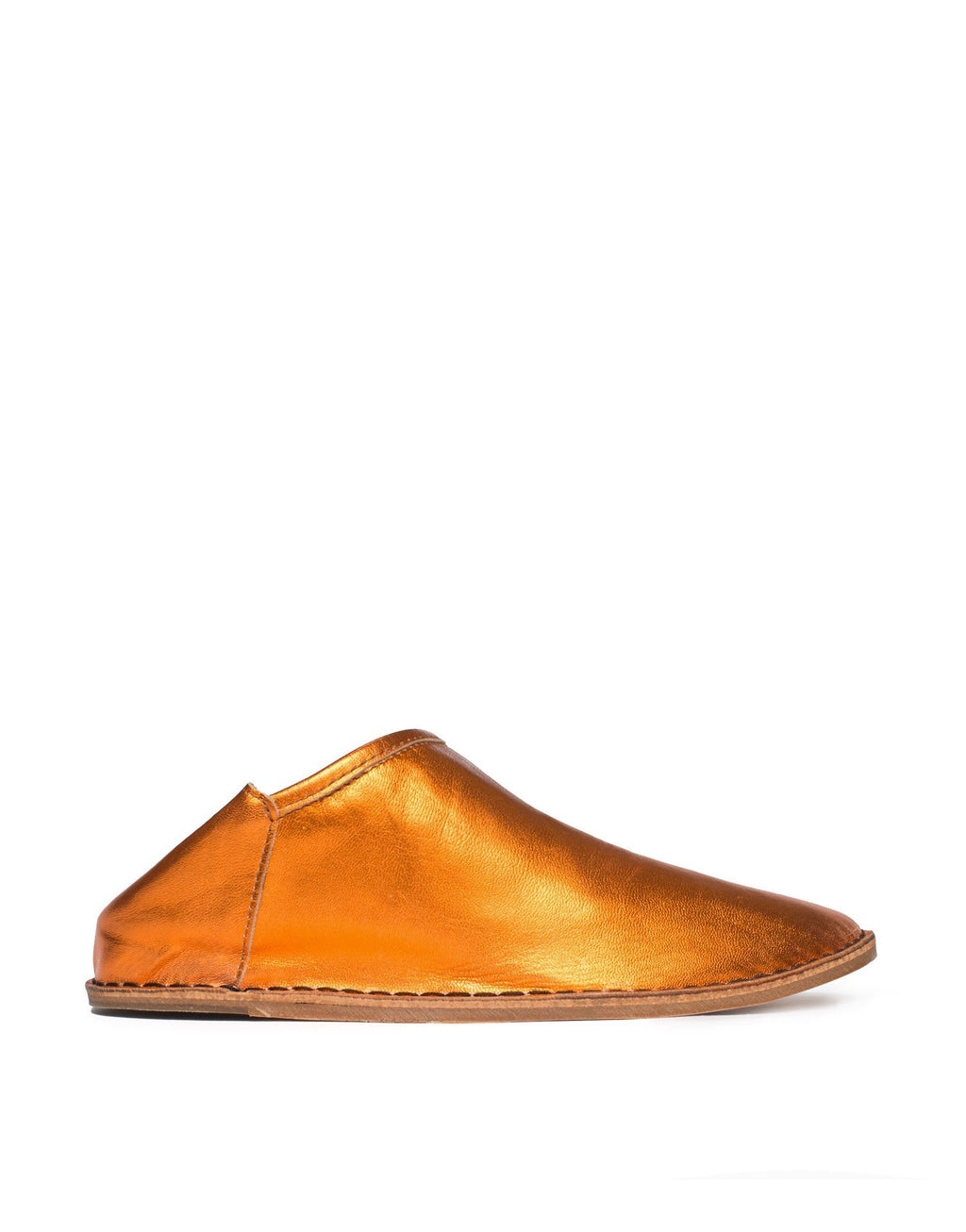 Orange metallic babouche by designer Georgina Goodman