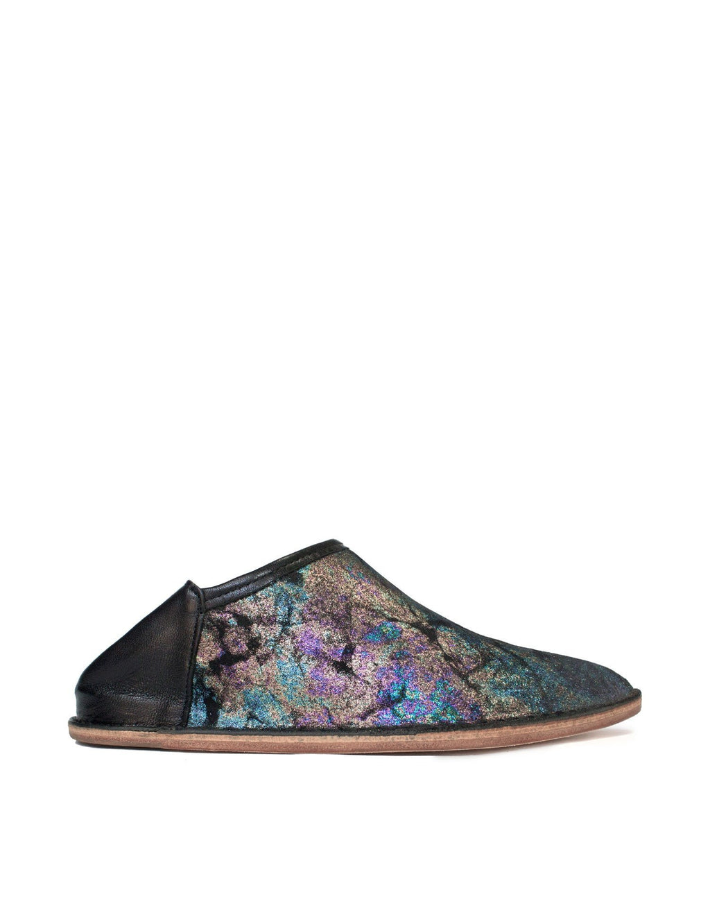 Iridescent metallic finished suede slip on slipper shoe by designer Georgina Goodman