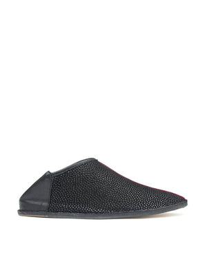 designer black and red slip on slipper shoe, a modern babouche by designer Georgina Goodman