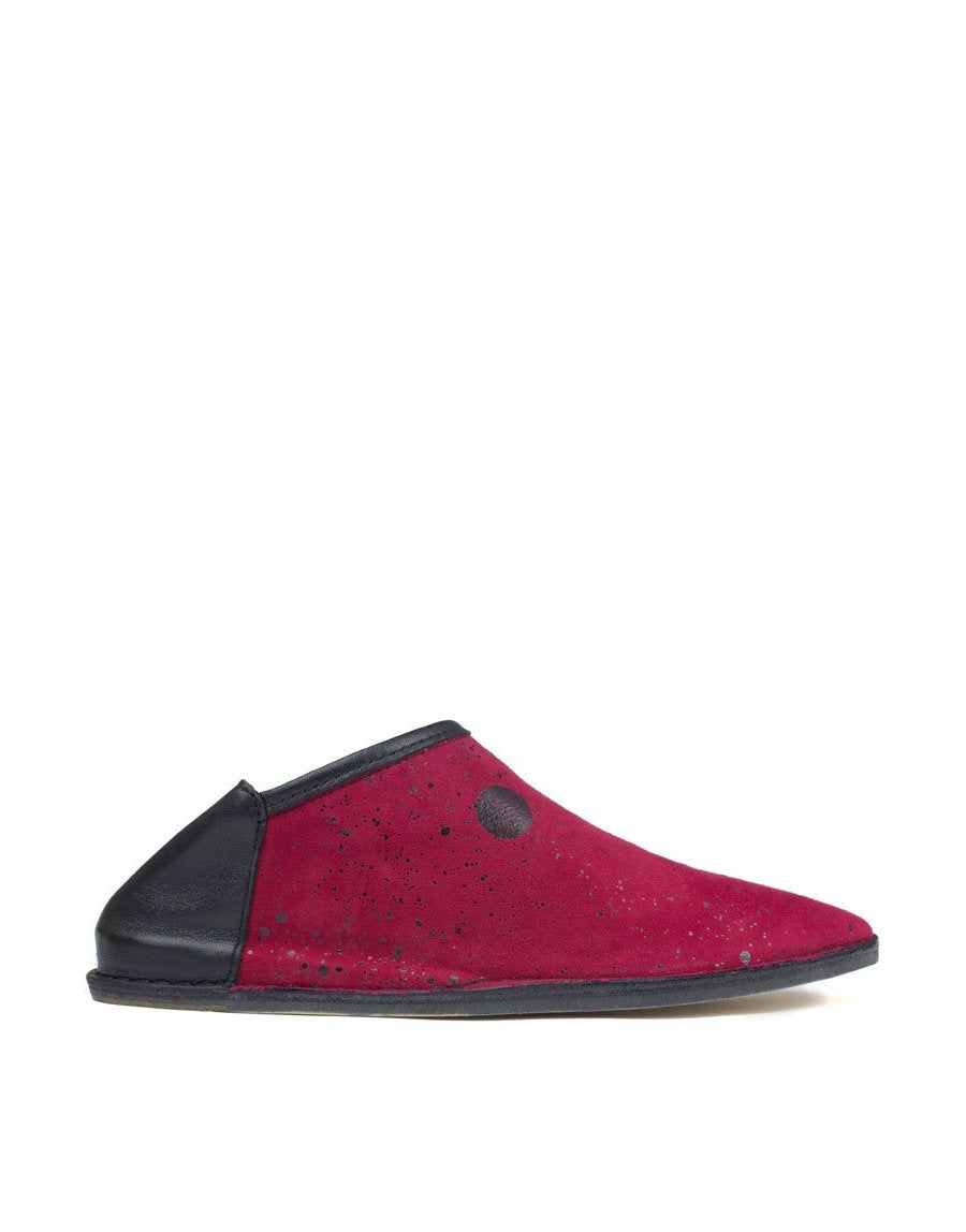 raspberry and black splash slipper by designer Georgina Goodman, stylish babouche with hidden wedge and padded insole for comfort all day