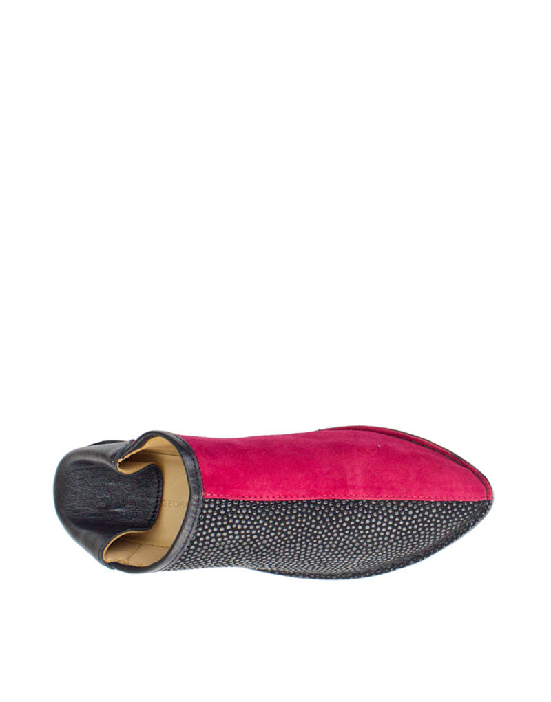Raspberry and black two tone babouche with hidden wedge for ultimate comfort and style, a slip on slipper shoe by designer Georgina Goodman
