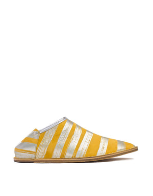 Yellow and Silver Stripe Leather Slip On Shoe Babouche by Georgina Goodman