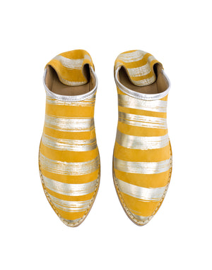 Yellow and silver stripe slip on leather summer shoe with secret wedge for comfort by Georgina Goodman