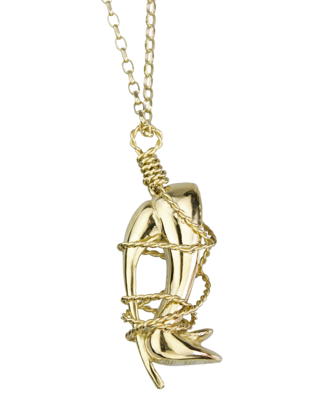 Solid 18k gold shoe pendant with solid 9k gold chain by shoe designer Georgina Goodman. Brought to life by artisan Momo from one of Georgina's drawings this piece was hand carved in wax and cast in gold.