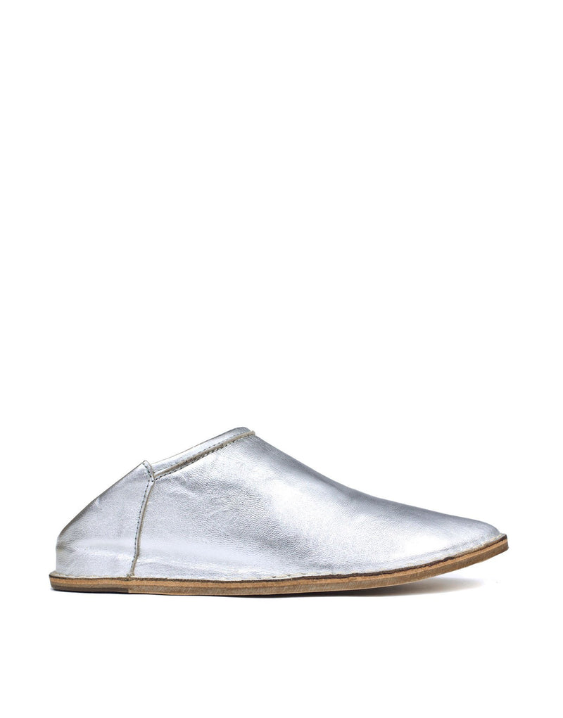 Silver Leather slip on designer shoe by Georgina Goodman. A modern day babouche hybrid with hidden wedge and padded insole for maximum comfort and style.